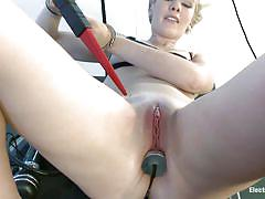 Cute blonde likes being an electro slut