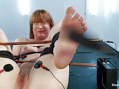 milf, blonde, lesbians, redhead, stockings, dominatrix, tied up, anal insertion, ass slapping, electrodes, electric dildo, electro bdsm, electro sluts, kink, claire robbins, aiden starr