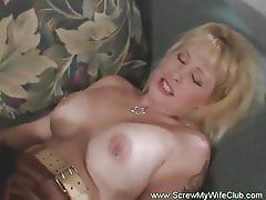 Blonde wife is ready to take on two hard cocks