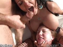 Rocco siffredi feeds his cock to two babes
