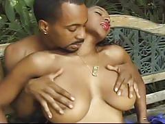 Yummy big boobies ebony charmer fiery session with black boner