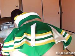 Japanese cheerleader bends over