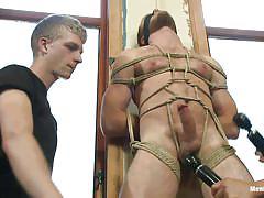 vibrator, blindfolded, gay bondage, gay blowjob, gay threesome, tied gay, gay executor, men on edge, kink men, drake temple