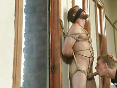 vibrator, blindfolded, gay bondage, gay blowjob, gay threesome, tied gay, gay executor, men on edge, kink men, drake temple