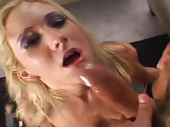 Hot busty blonde gives a gagging blowjob to big dick