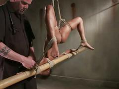 Bdsm ebony hung from ceiling as punishment by her master