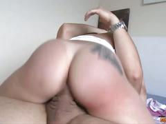 Big ass brunette latina babe rides a huge cock.