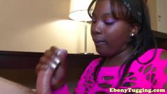 Cfnm ebony tugging hard white meat