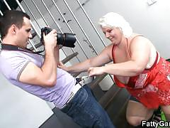 Busty bbw blonde milf sucks and gets fucked