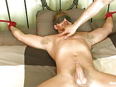 cumshot, rope, blindfolded, anal insertion, gay handjob, gay blowjob, tied on bed, vibrators, men on edge, kink men, logan vaughn