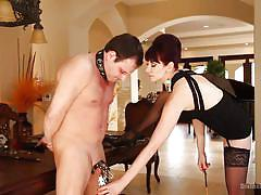 spanking, mistress, cock torture, redhead babe, leather collar, yelling, divine bitches, kink, maitresse madeline, marcelo