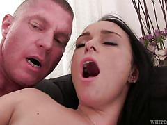 Jizz on her pussy lips @ my hairy cream pie #20