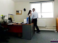 Slut sucks her boss