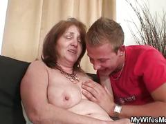 Busty mother inlaw rides his cock after shower