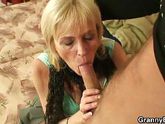 Blonde granny whore gets fucked by a young stud