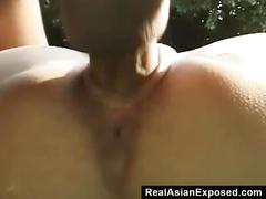 Slutty asian wants to get fucked at the backyard
