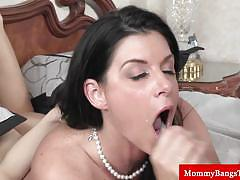 Teen and milf get banged very hard together