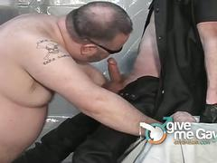 Horny fat gay guy sucking his master's big cock.