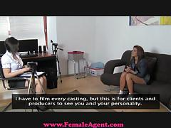 Naughty female agent eats pussy