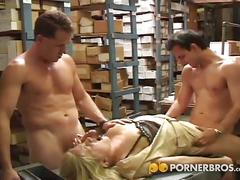 Blonde milf in a dp threesome