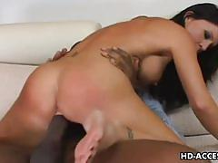Intense raven-haired milf rides a hard black cock