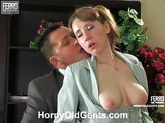 Elegant secretary marina slammed by her older boss