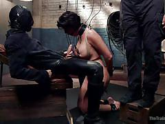 milf, bdsm, big tits, nipple clamps, box on head, bondage box, latex mask, rope bondage, the training of o, kink, owen gray, shay fox
