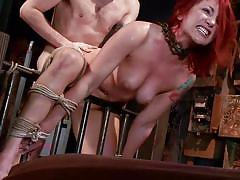 bdsm, babe, redhead, tied, chain, tattooed, mouth fuck, from behind, rope bondage, dungeon sex, kink, sophia locke, maestro