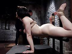 bdsm, babe, training, chained, black hair, pussy rubbing, bondage cage, device bondage, pushups, the training of o, kink, tifereth, owen gray
