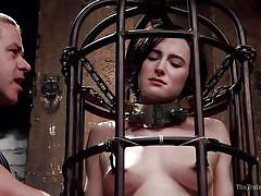 bdsm, babe, training, chained, black hair, pussy rubbing, bondage cage, device bondage, pushups, the training of o, kink, tifereth, owen gray
