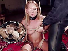 blonde, bdsm, babe, crying, blowjob, training, nipple pinching, weights, rope bondage, the training of o, kink, owen gray, carter cruise
