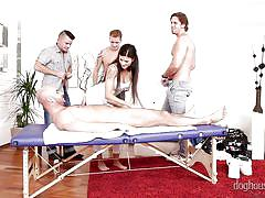 An overwhelmed masseuse @ 4 on 1 gang bangs #05