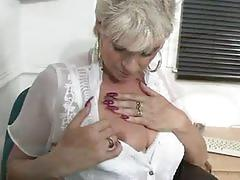 Busty mature dimonte toying at work