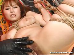 Asian slave gets hairy cunt toyed