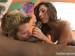 Reena's husband suck black cock and take a facial