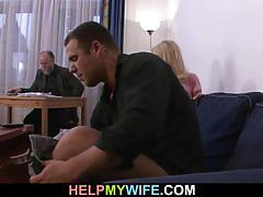 Blonde wife screwed by stranger with husband there
