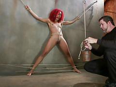 torture, redhead, vibrator, black babe, weight, electric wand, ball gagged, rope bondage, sadistic rope, kink, daisy ducati