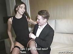 Sensual slim courtesan gets paid