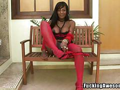 Indian shemale has a big dildo
