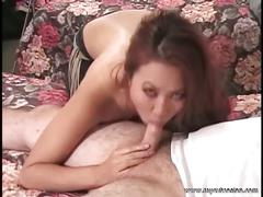 Cute busty asian babe sucking fat cock on the bed