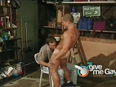 Muscular bully forces a guy to suck and get fucked