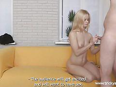 Horny blonde casting