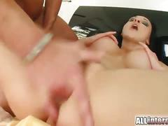 Lucky guys creampie busty brunette