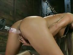 Blond machine fucked to orgasms