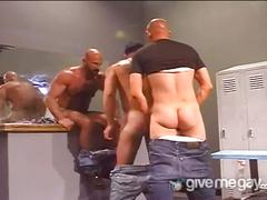 Hot and wild guy to guy blowjob through glory hole