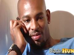 Hot black stud wanks out solo
