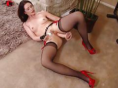 sarah shevon, brunette, milf, masturbation, stockings, solo, posing, mom, mature, amateur, first time, tights, hairy pussy, teasing, masturbating