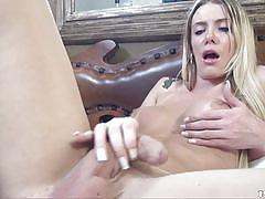 Blonde tranny pulls down her panties and strokes her cock