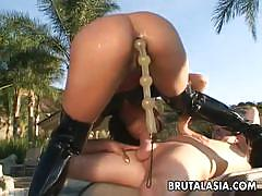 Asian babe lyla lei gets assfucked by the poolside