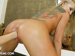 Two horny blonde lesbians in hot toying action.